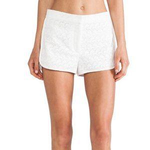 Theory White Lace Overlay Shorts
